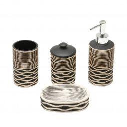 Jogo 4 peças para banheiro de cerâmica preto Stripe Prestige - 25330