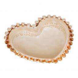 Jogo 4 pratos 12 cm para sobremesa de cristal coração âmbar Pearl Wolff - 28392
