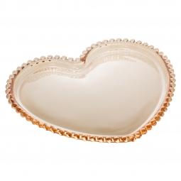 Jogo 4 pratos 18 cm  para sobremesa de cristal coração âmbar Pearl Wolff - 28393