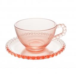 Jogo 4 xícaras 180ml para chá de cristal rosa com pires Pearl Wolff - 28447