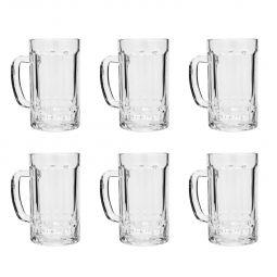 Jogo 6 Canecas 400ml para chopp e cerveja de vidro transparente com alça Faces Lyor - C7473