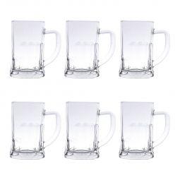 Jogo 6 Canecas 565ml para chopp e cerveja de vidro transparente com alça Lyor - C6622