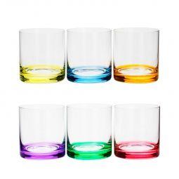 Jogo 6 copos 310ml para whisky de cristal ecológico colorido Set-Bar Favorit Bohemia - 35029