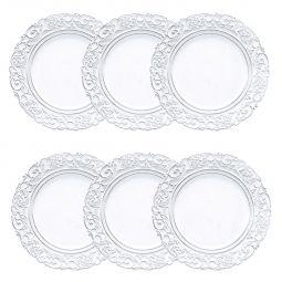 Jogo 6 peças Sousplat 35 cm de plástico preto e branco Apolo Bon Gourmet - 30430
