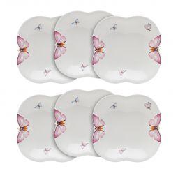 Jogo 6 pratos 19 cm para sopa de porcelana Borboletas Wolff - 1167