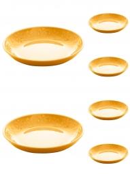 Jogo 6 pratos 22 cm fundo de cerâmica Alanya Flame Wolff - 17493