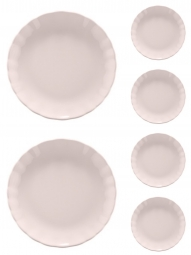 Jogo 6 pratos 26 cm raso de cerâmica Bergama Lilac Wolff - 17525