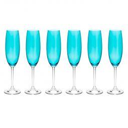 Jogo 6 taças 220ml para champagne de cristal ecológico turquesa Gastro/Colibri Bohemia - 35045