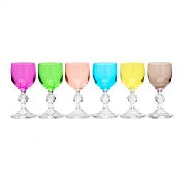 Jogo 6 taças 50ml para licor de cristal coloridos Klaudie/Sterna Bohemia - 35050