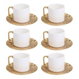 Jogo 6 xícaras 200ml para chá de porcelana branca e dourada com pires Vera Wolff - 17452