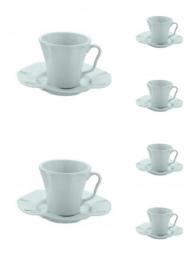 Jogo 6 xícaras 190 ml para chá de cerâmica com pires Bergama Mint Wolff - 17523