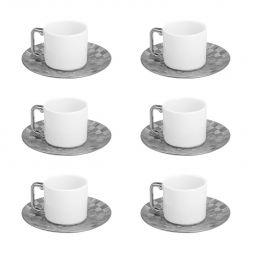 Jogo 6 xícaras 80ml para café de porcelana branca e prateada com pires Vera Wolff - 17434