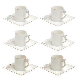 Jogo 6 xícaras 80ml para café de porcelana colorida com pires quadrado Birds Wolff - 35469
