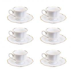 Jogo 6 xícaras 80ml para café de porcelana fio dourado com pires New Bone Wolff - 35369