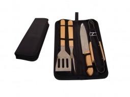 Kit churrasco 4 peças de aço inox e cabo de madeira com estojo de nylon Pontual - P143183