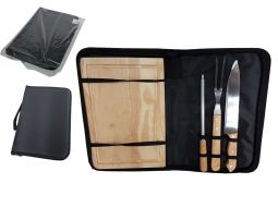 Kit churrasco 4 peças de aço inox e cabo de madeira com estojo de nylon Pontual - P143329