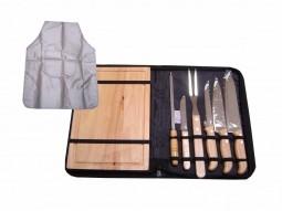 Kit churrasco 8 peças de aço inox e cabo de madeira com estojo de nylon Pontual - P143135