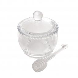 Meleira 10 cm de cristal transparente com colher Pearl  Wolff - 28380