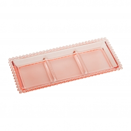 Petisqueira 30 cm de cristal rosa com 3 divisões Pearl Wolff - 28449