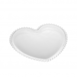 Prato 20 cm de cristal transparente Coração Pearl Wolff - 28372