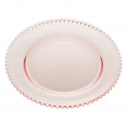 Prato 20 cm para sobremesa de cristal rosa Pearl Wolff - 28431