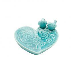 Prato decorativo 14 cm de cerâmica azul com pássaros Coração Lyor - L4170