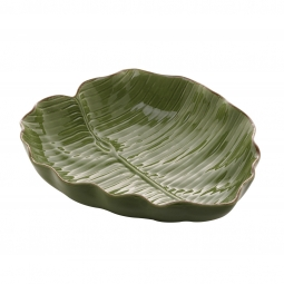 Prato decorativo 28,5 cm de cerâmica verde Banana Leaf Lyor - L4497
