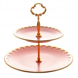 Prato duplo 27 cm para doces de porcelana rosa com suporte de metal dourado Egg Matt Wolff - 17730