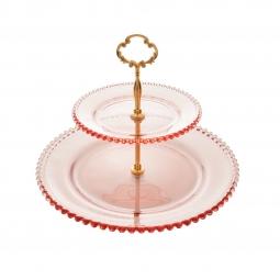 Prato duplo 32 cm para doces de cristal rosa com suporte de metal Pearl Wolff -  28432