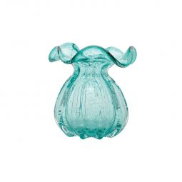 Vaso decorativo 16 cm de vidro azul tiffany Italy Lyor - L4143