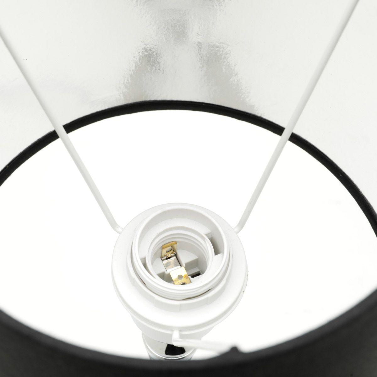 Abajur 45 cm de metal prateado e cúpula preta Bivolt Royal - 60565