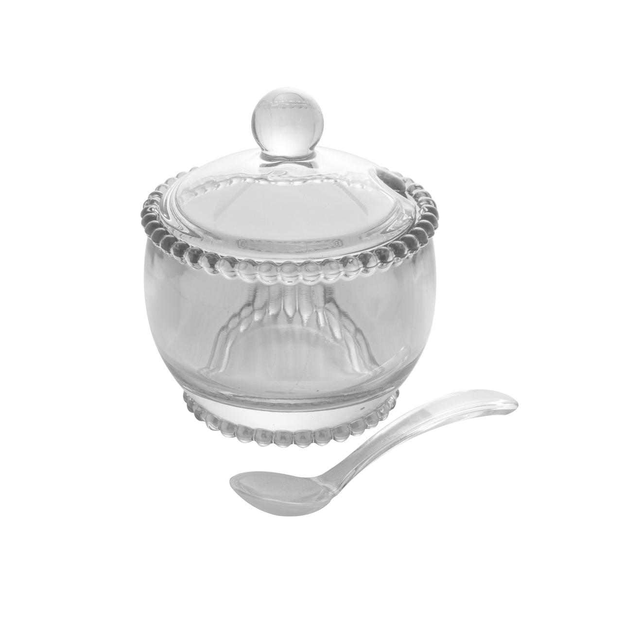Açucareiro 10 cm de cristal transparente com colher Pearl  Wolff - 28379