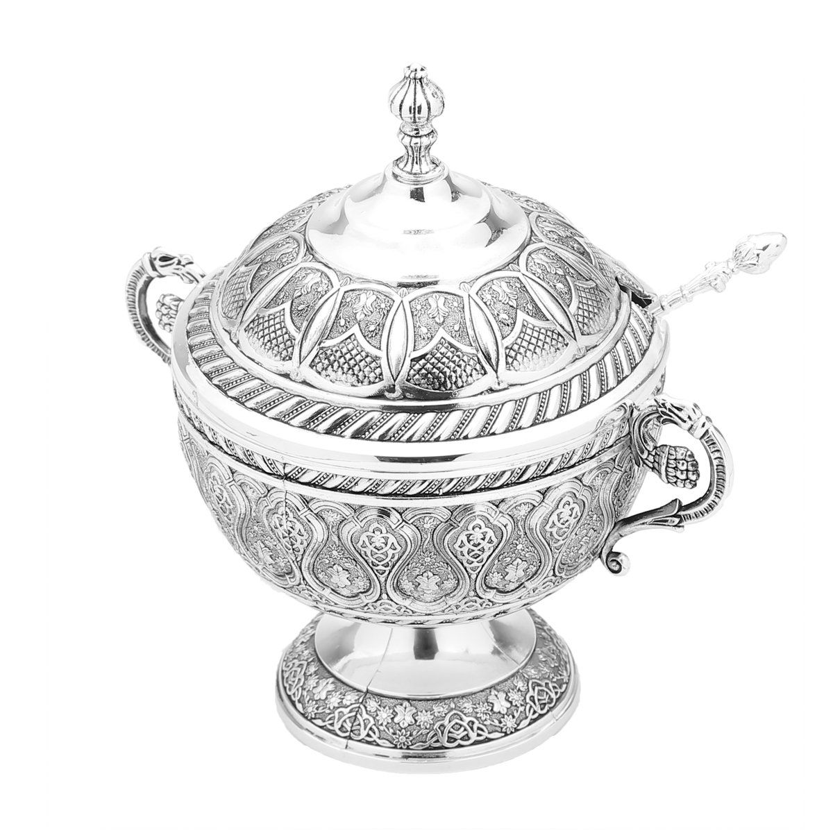 Açucareiro 16 cm de zamac banhado em prata com colher Agra Lyor - L3768