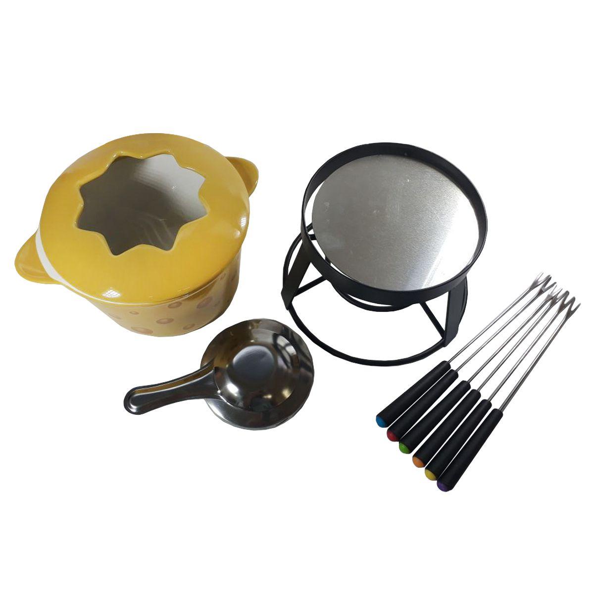 Aparelho para Fondue 10 peças de cerâmica com base de metal Cheese Bon Gourmet - 26376