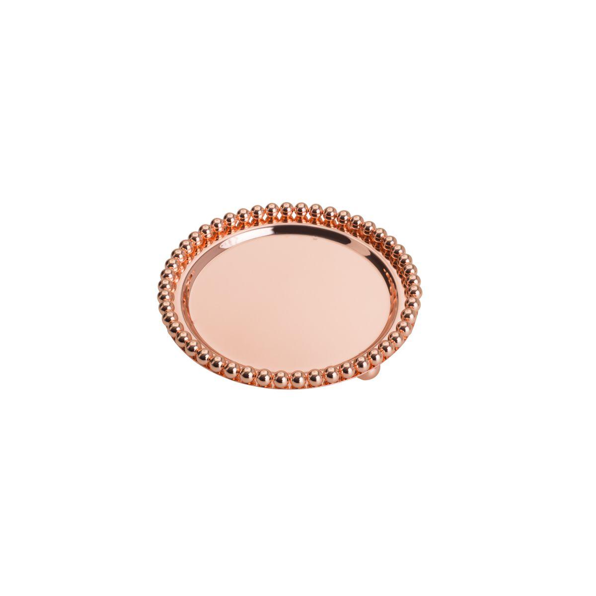 Bandeja redonda 13,5 cm de zamac Rosé Gold com pés Balls Lyor - L4245