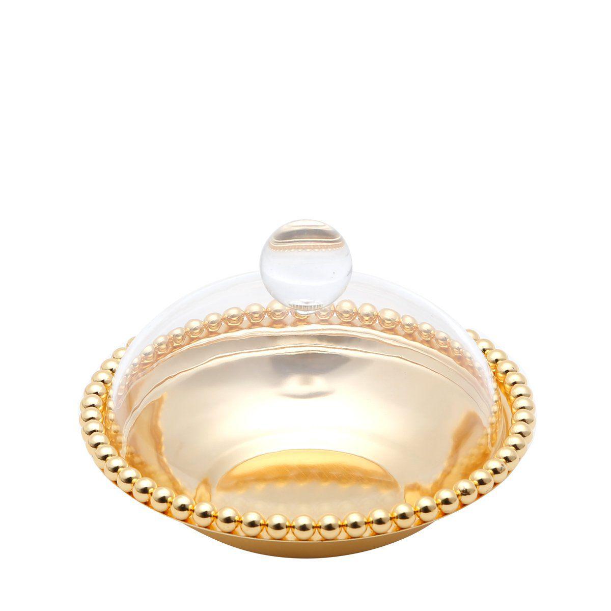 Bandeja redonda 16 cm de zamac dourado com tampa de acrílico Balls Lyor- L3753