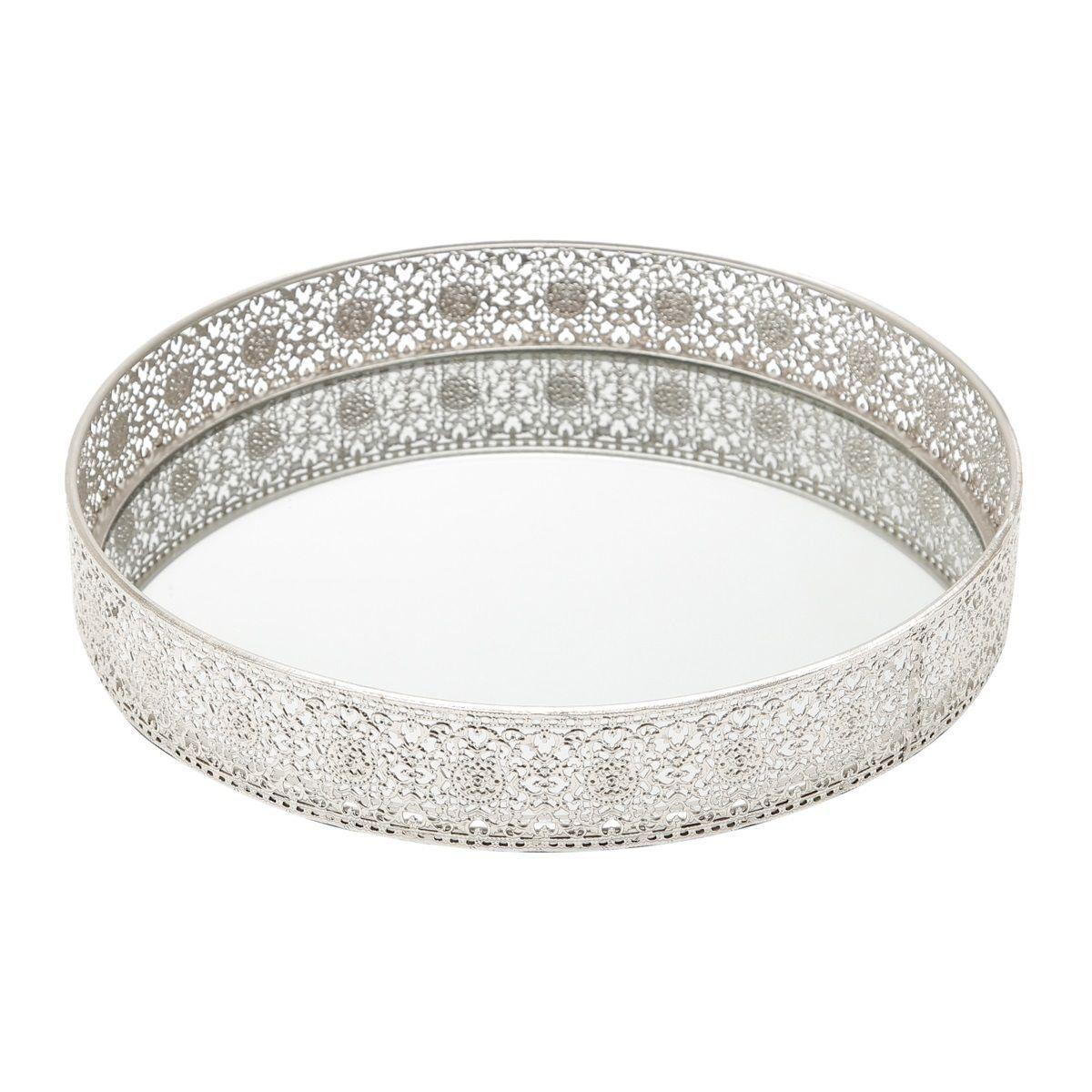 Bandeja, Suporte 30 cm de ferro niquelado esmaltado prata com espelho Prestige - 3979
