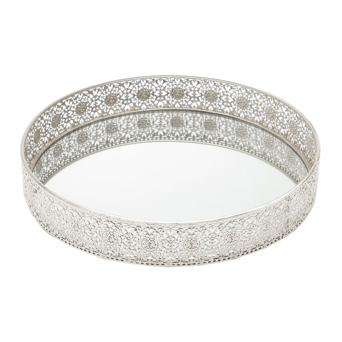 Bandeja, Suporte 24 cm de ferro niquelado esmaltado prata com espelho Prestige - 3980