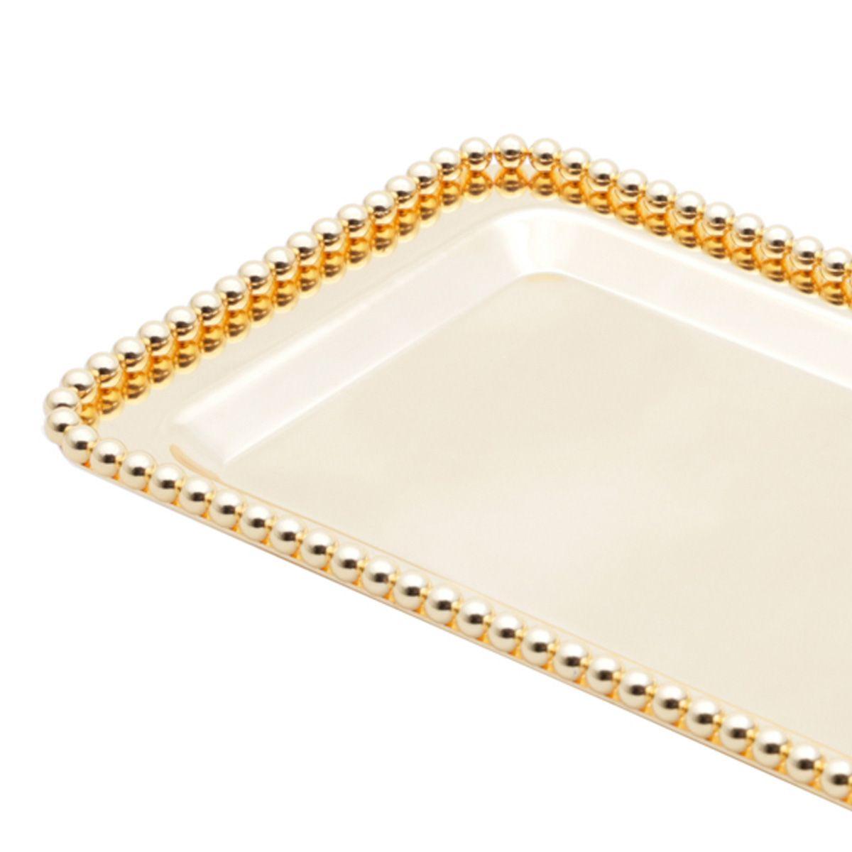 Bandeja retangular 25 x 15,5 cm de zamac dourado Balls Lyor - L3813