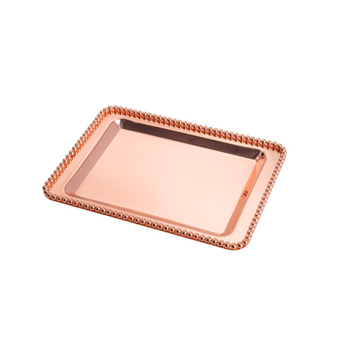 Bandeja retangular 28 cm de zamac Rosé Gold com pés Balls Lyor - L4240