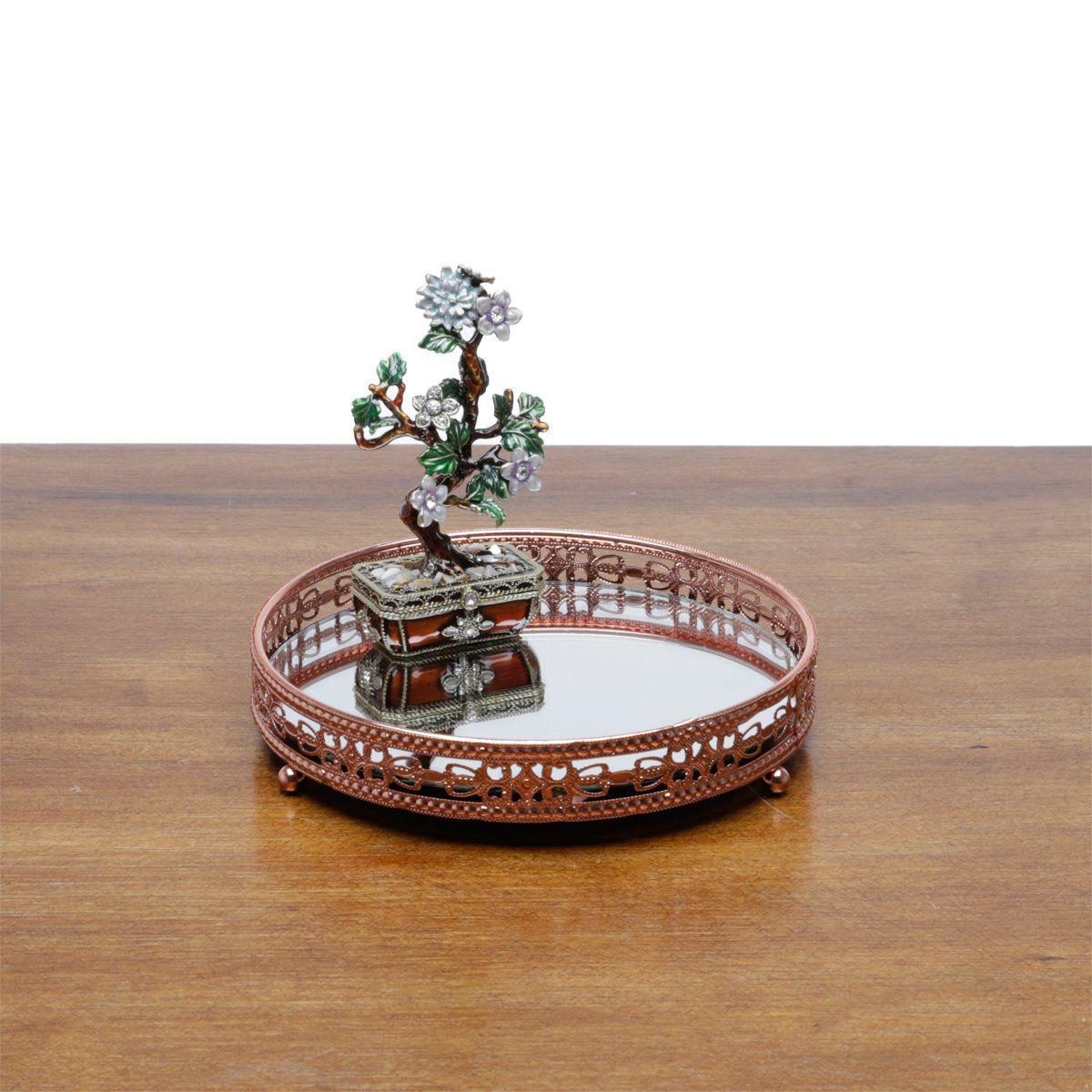 Bandeja suporte 19,5 cm de ferro bronze com espelho Bunch Wolff - 27208
