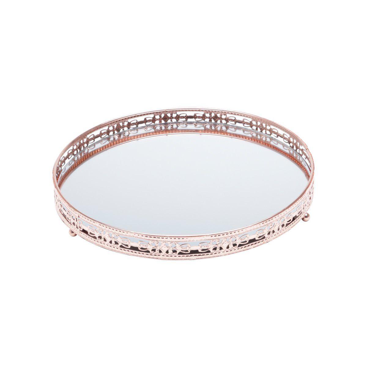 Bandeja suporte 29 cm de ferro bronze com espelho Bunch Wolff - 27212