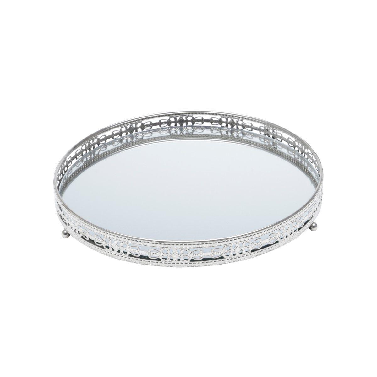 Bandeja suporte 29 cm de ferro prata com espelho Bunch Wolff - 27211