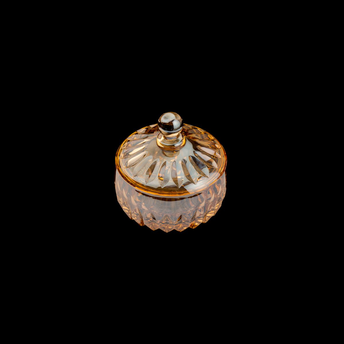 Bomboniere 11 cm de cristal âmbar com tampa Louise Wolff - 35196