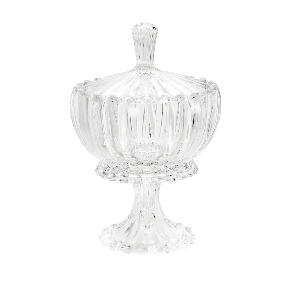 Bomboniere 11 cm de cristal transparente com tampa e pé Geneva Wolff - 25609