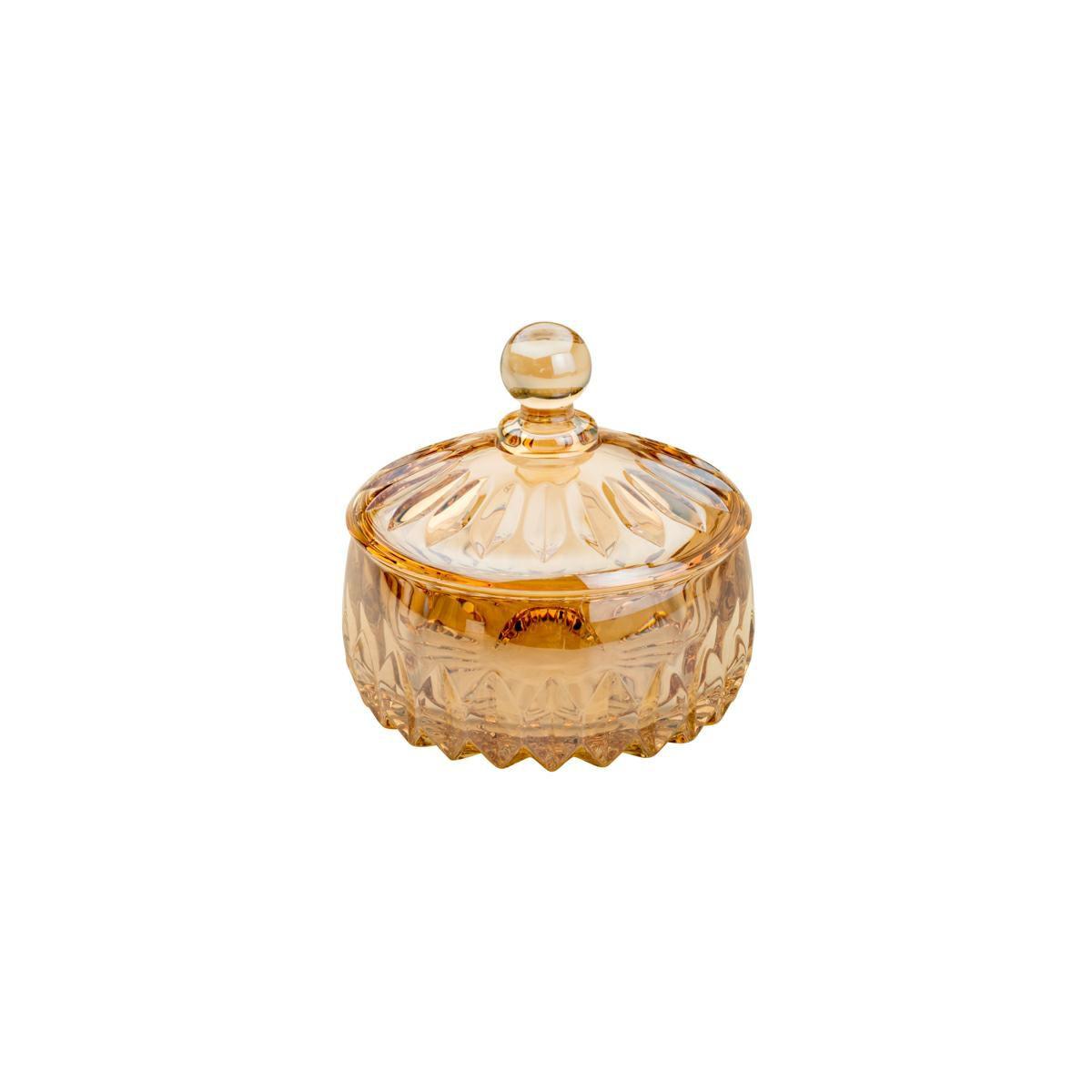 Bomboniere 14 cm de cristal âmbar com tampa Louise Wolff - 35200