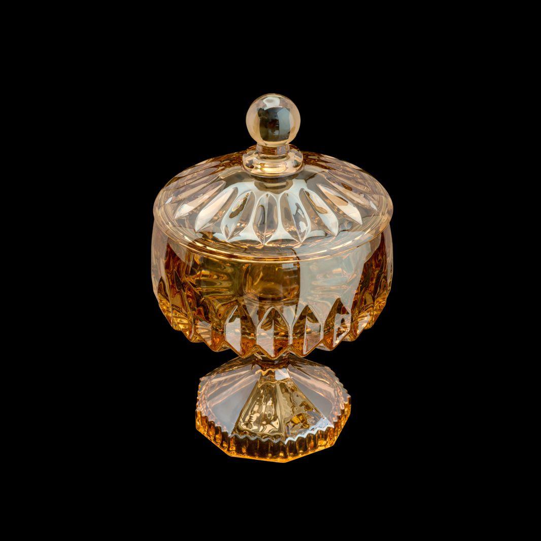 Bomboniere 18 cm de cristal âmbar com tampa e pé Louise Wolff - 35198