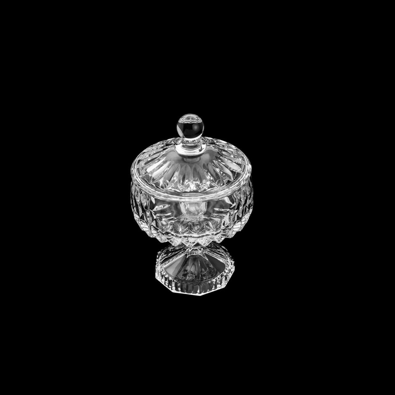 Bomboniere 22,5 cm de cristal transparente com tampa e pé Louise Wolff - 35201