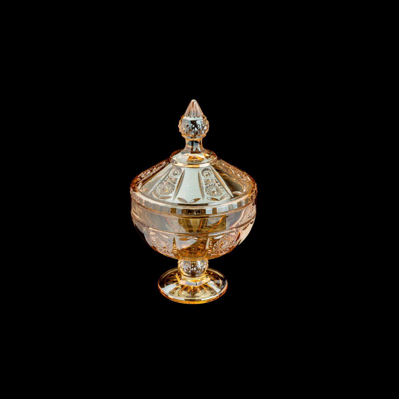 Bomboniere 24 cm de cristal âmbar com pé e tampa Belle Wolff - 35190