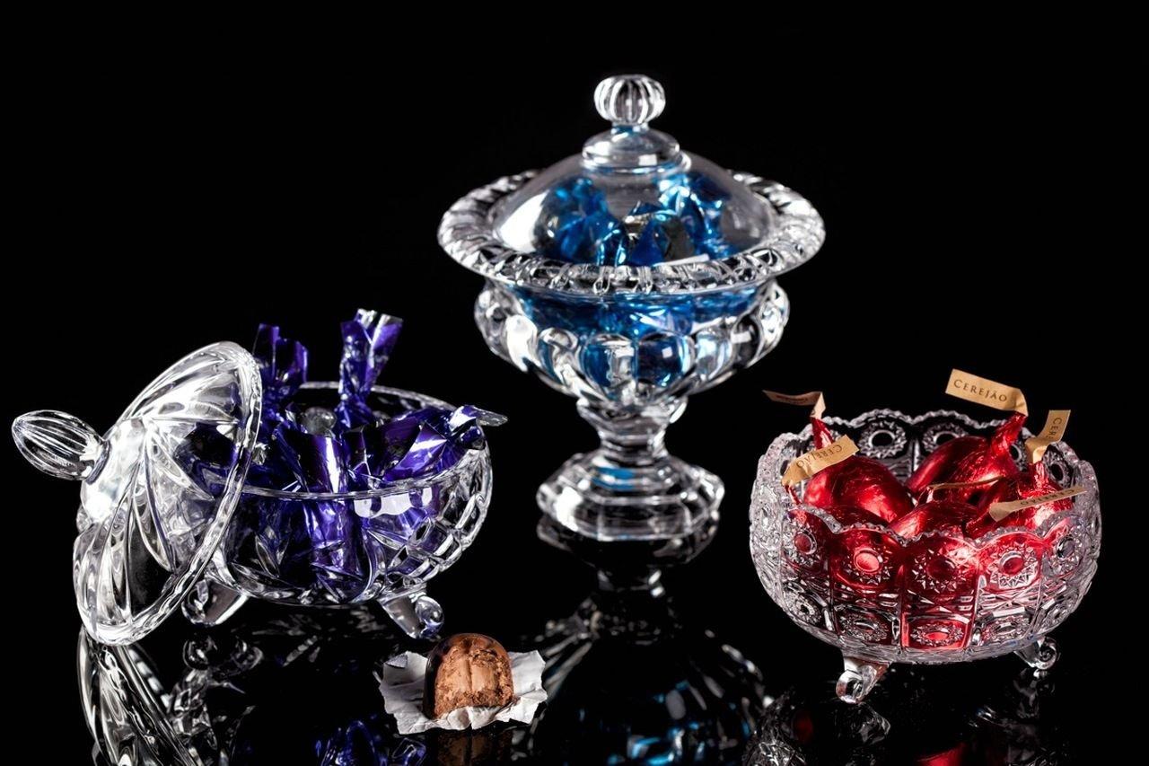 Bomboniere 16 cm de cristal transparente com tampa e pé Sussex Wolff - 2139